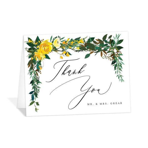 Cascading Altar folded thank you cards yellow