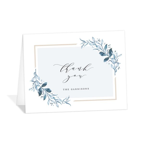 classic greenery thank you cards in blue