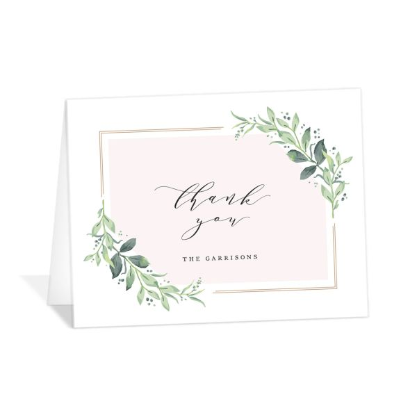 classic greenery thank you cards in pink