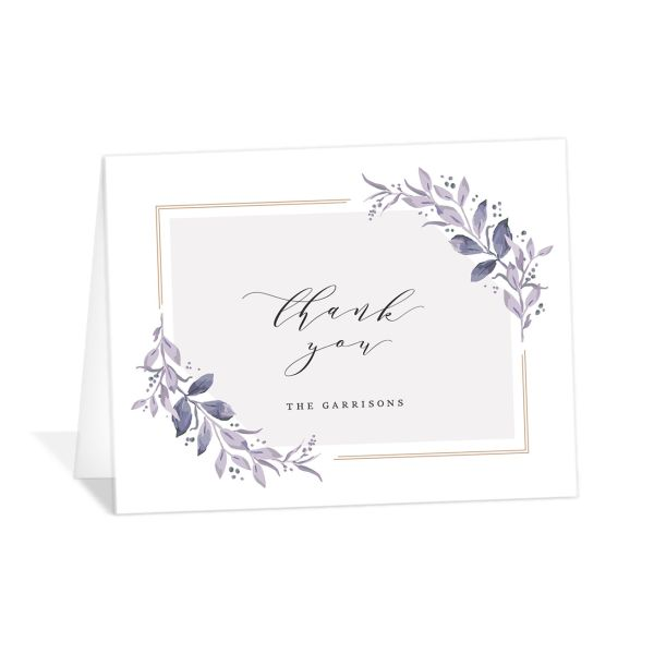classic greenery thank you cards in purple