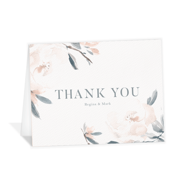 Elegant Garden thank you folding cards blue