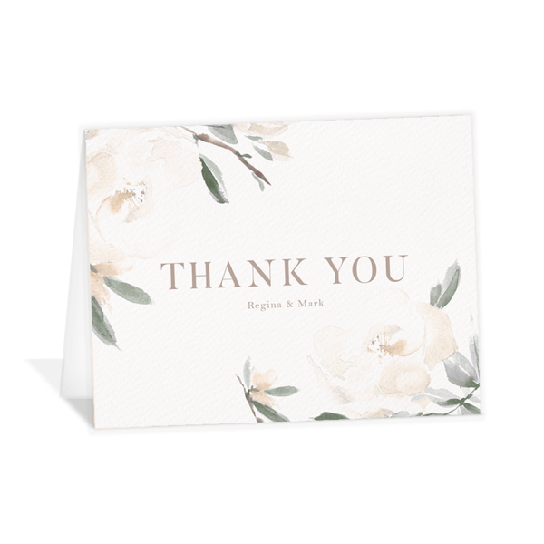 Elegant Garden thank you folding cards green