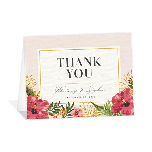 elegant paradise wedding thank you cards in pink