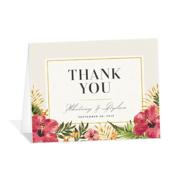 elegant paradise thank you cards in white