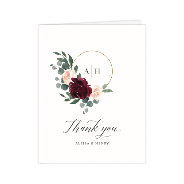 Floral Hoop Wedding Thank You Cards
