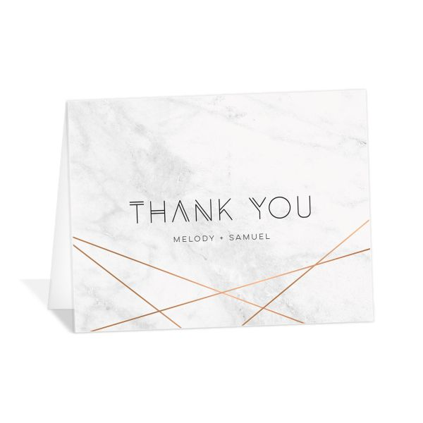 geometric marble wedding thank you cards