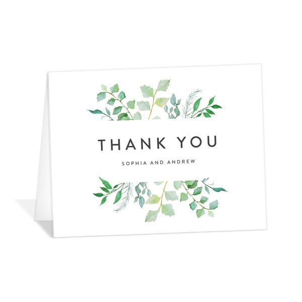 leafy ampersand thank you cards in green