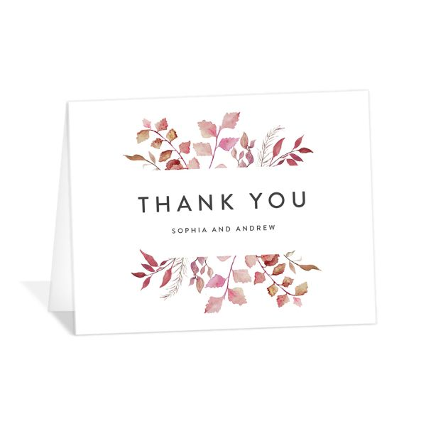 leafy ampersand thank you cards in purple