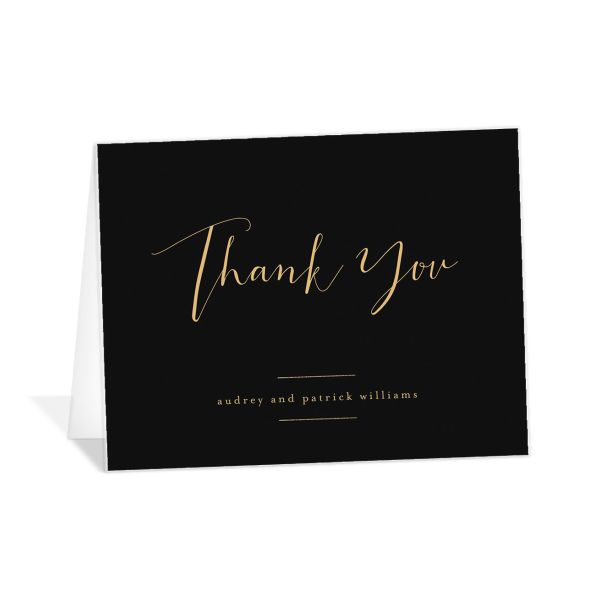 Marble and Gold folding thank you cards in black