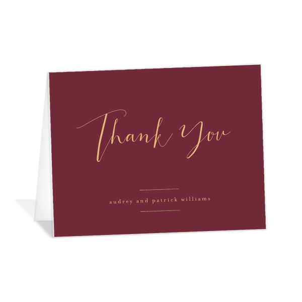 Marble and Gold folding thank you cards in red