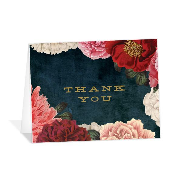 midnight peony thank you cards