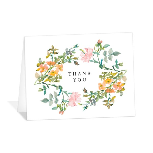 Minimal Floral thank you card