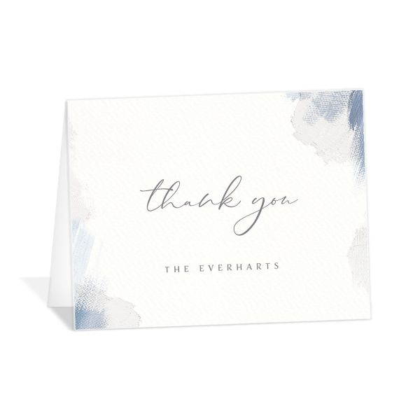 Minimal Brush thank you card blue