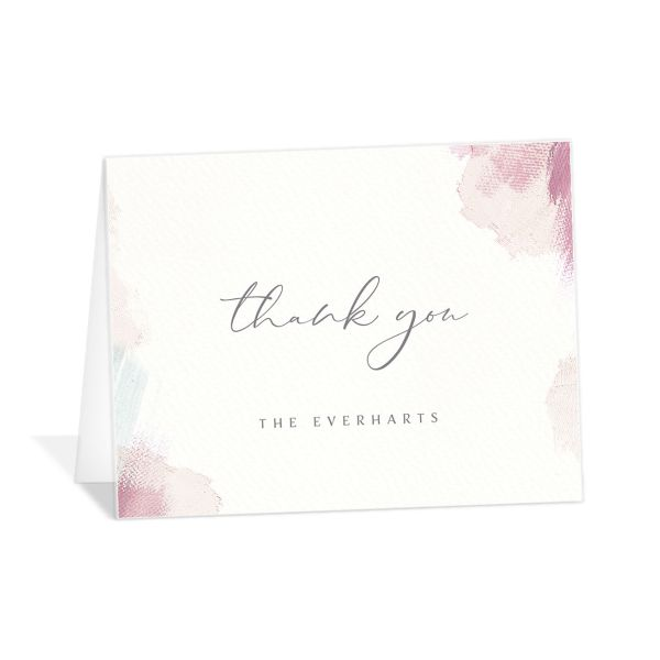 Minimal Brush thank you card pink