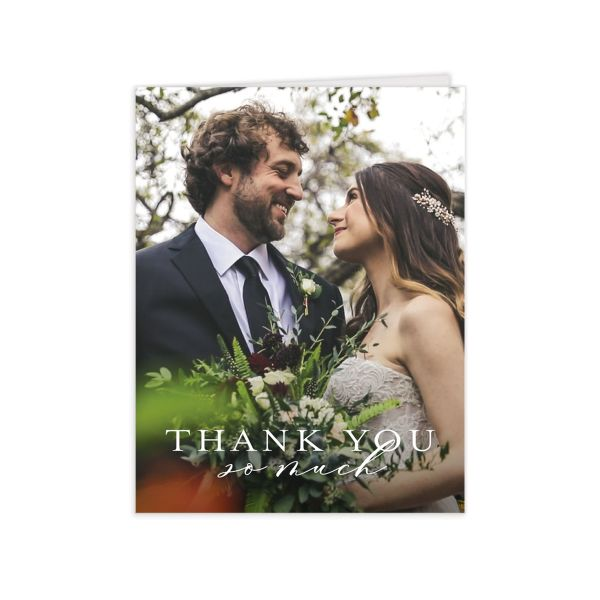 Natural Monogram thank you card with photo