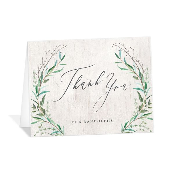 Natural Laurel thank you card