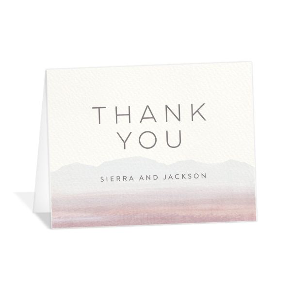 painted desert thank you cards in purple