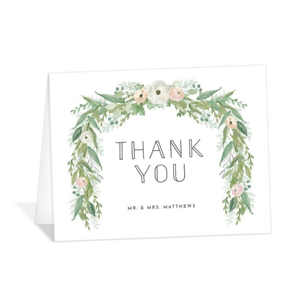 Romantic Garland thank you card