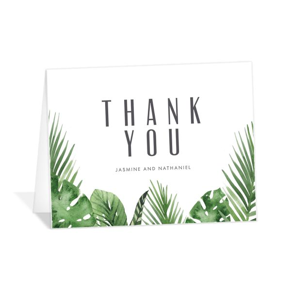 Tropical Leaves thank you card