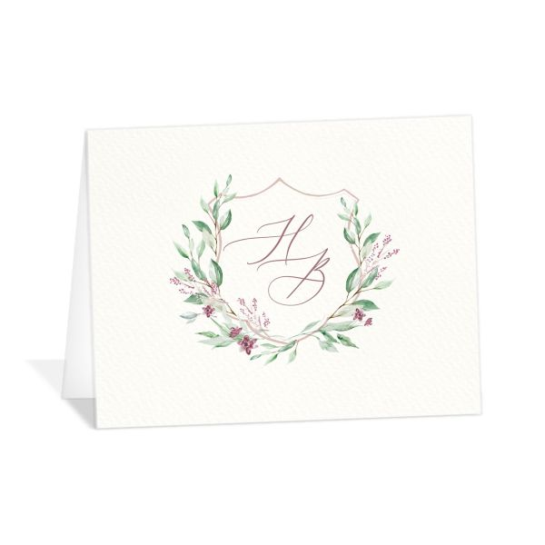 watercolor crest wedding thank you cards