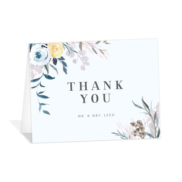 wild wreath wedding thank you cards in blue
