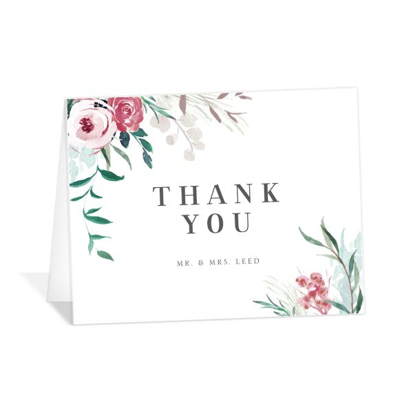 wild wreath wedding thank you cards in green