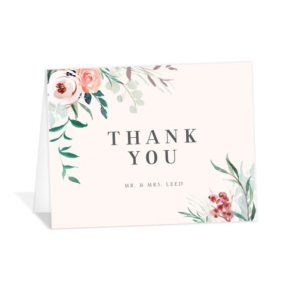 wild wreath wedding thank you cards pink