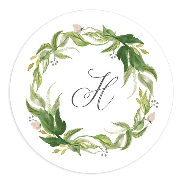 leafy wreath wedding stickers