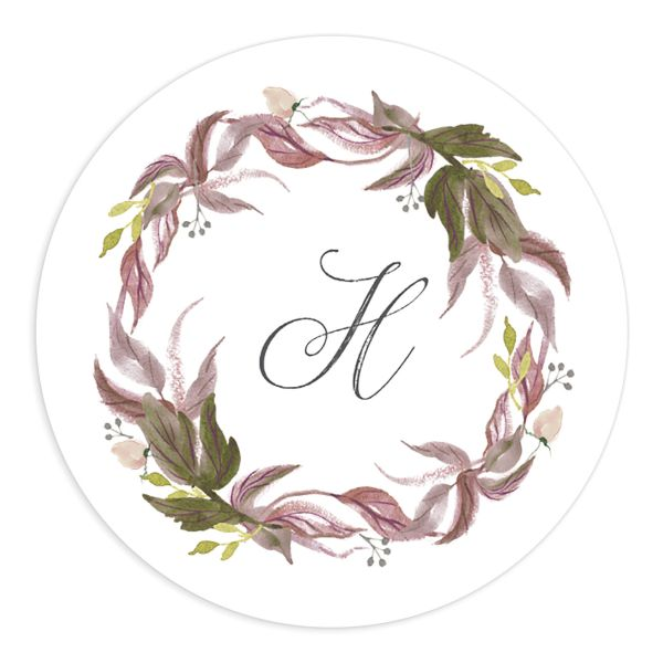 leafy wreath wedding stickers in purple