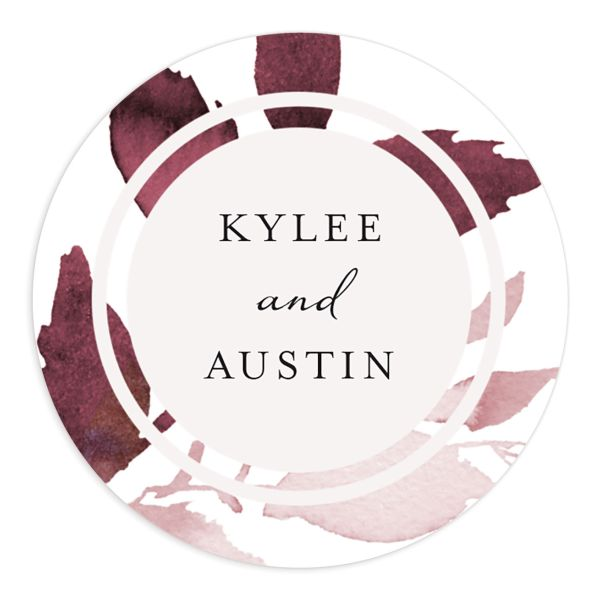 leafy frame wedding stickers in burgundy