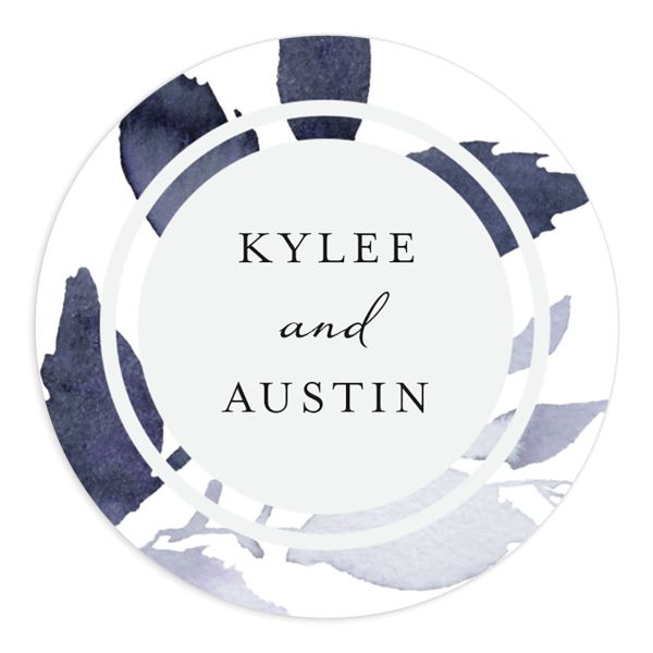 leafy frame wedding stickers in navy