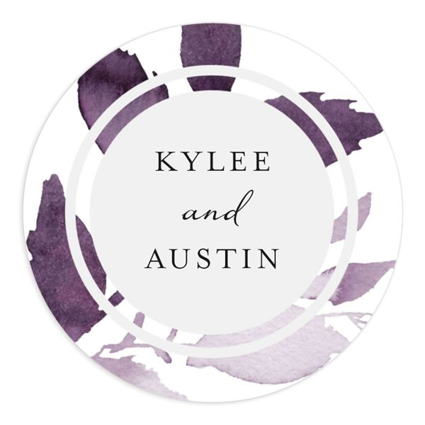 leafy frame wedding stickers in purple