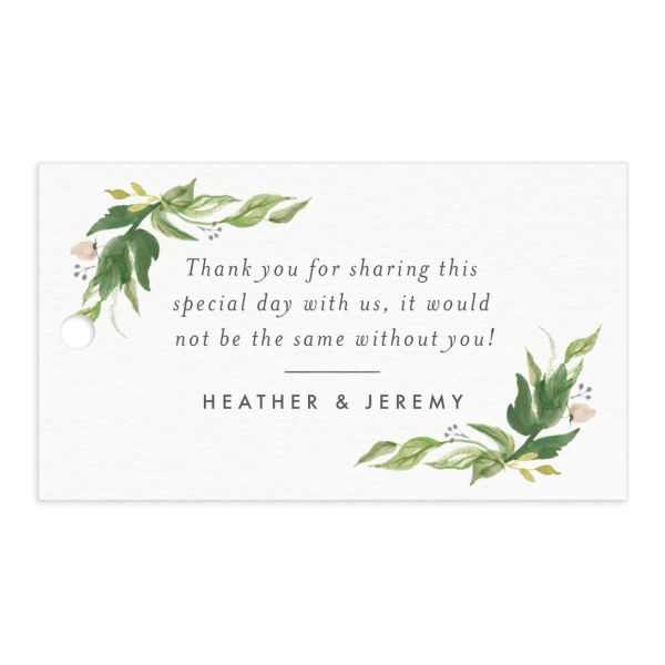 leafy wreath wedding favor gift tags in green