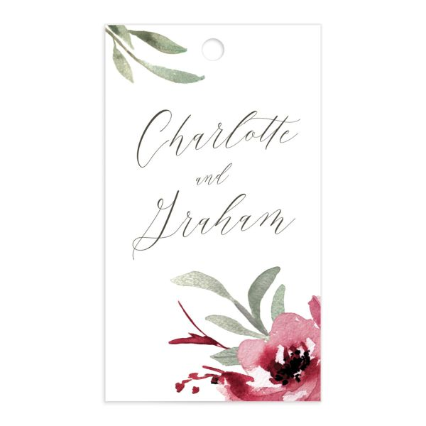 muted floral wedding favor gift tags in burgundy
