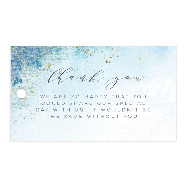organic luxe wedding favor tags in blue