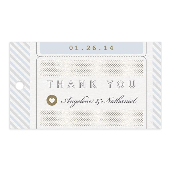 Vintage Boarding Pass gift tag front blue