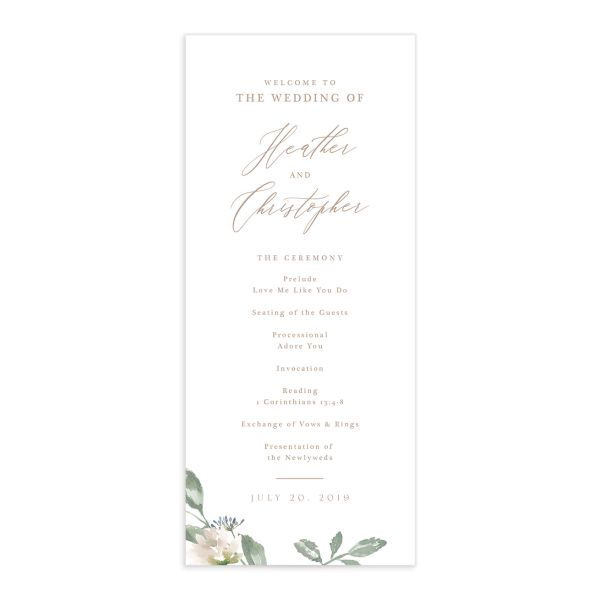 Dusted Calligraphy wedding programs in pink