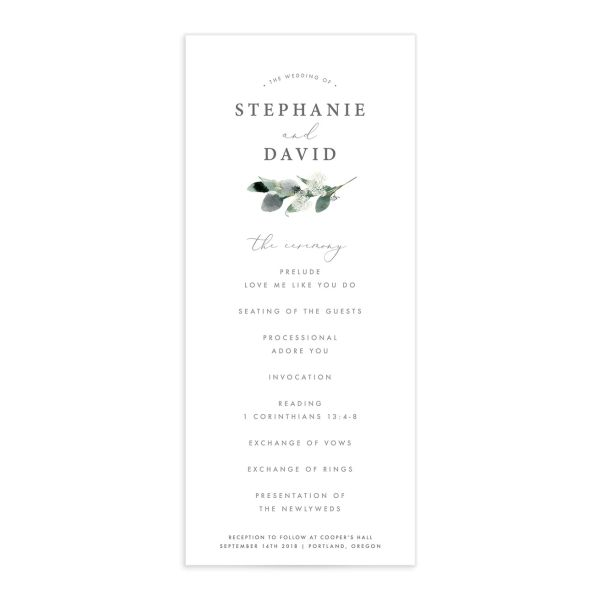 Elegant greenery wedding programs