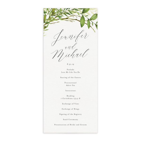 Watercolor Greenery Wedding Programs front