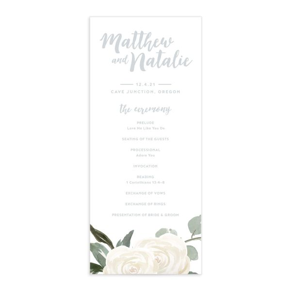 Wintry Floral Wedding Programs front