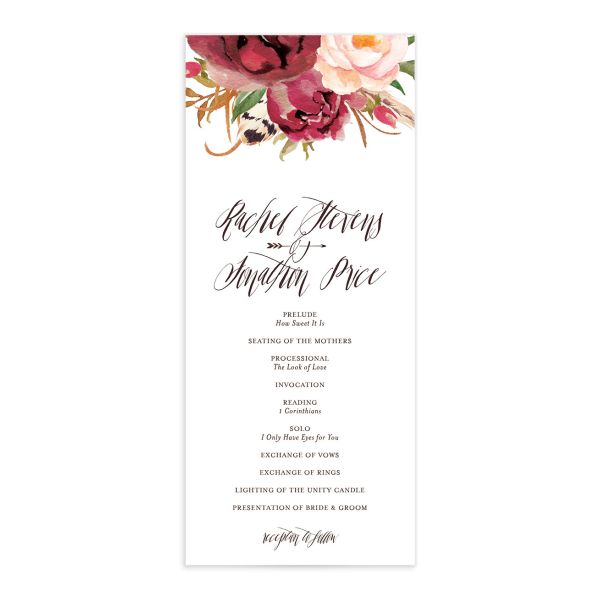 bohemian floral wedding programs in burgundy
