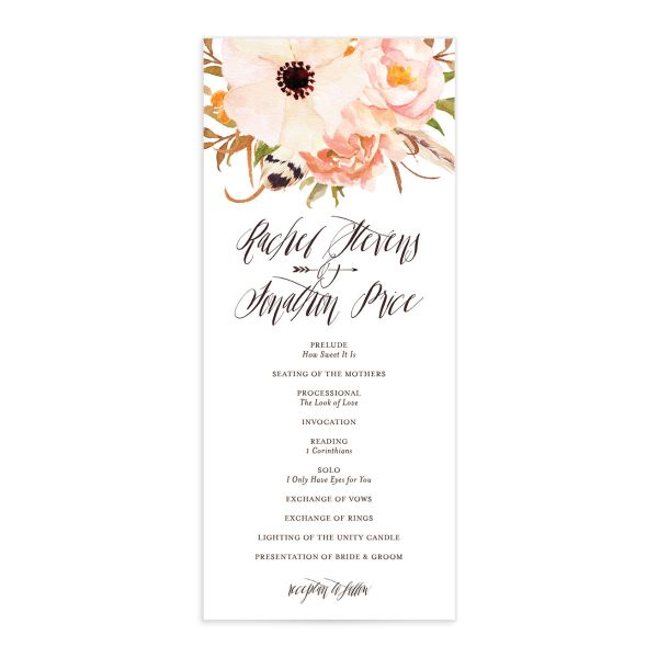 bohemian floral wedding programs in orange