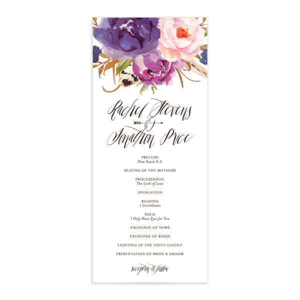 bohemian floral wedding programs in purple