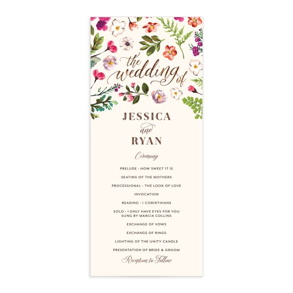 Bronze Floral Frame Wedding Programs front