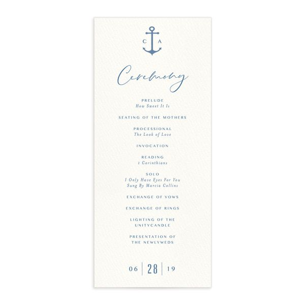 Coastal Love wedding programs front in blue