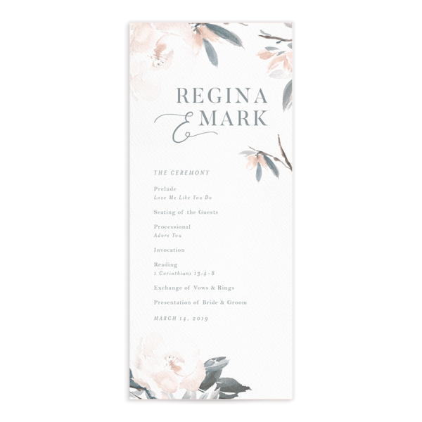 Elegant Garden wedding programs in blue