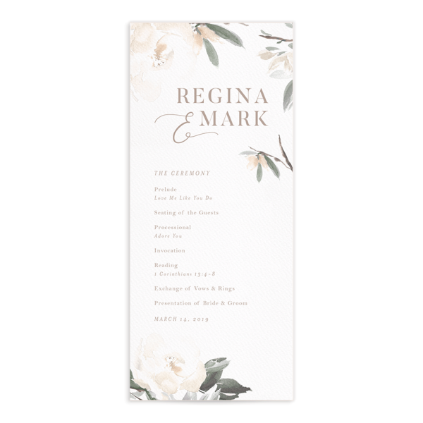 Elegant Garden wedding programs in green