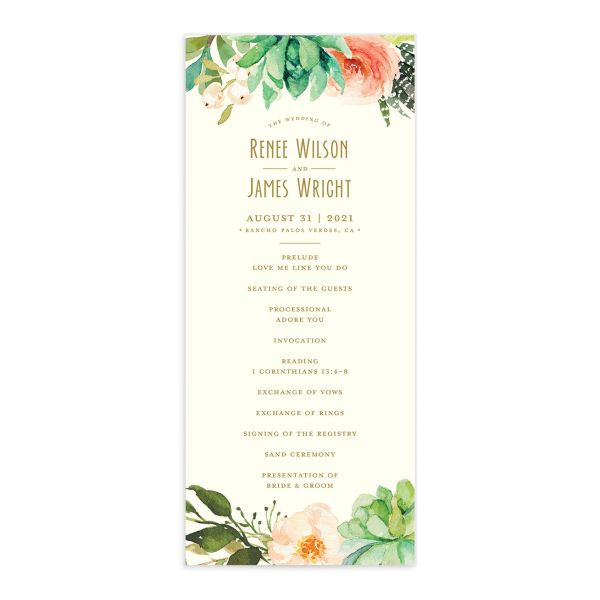 Elegant Oasis Wedding Programs front