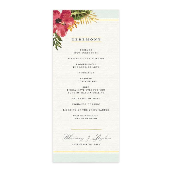 elegant paradise wedding programs in teal