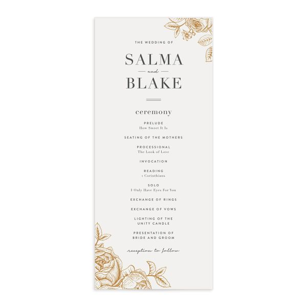 Etched botanical wedding programs